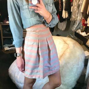 Corey Lynn Calter Khaki Coral Striped Miniskirt